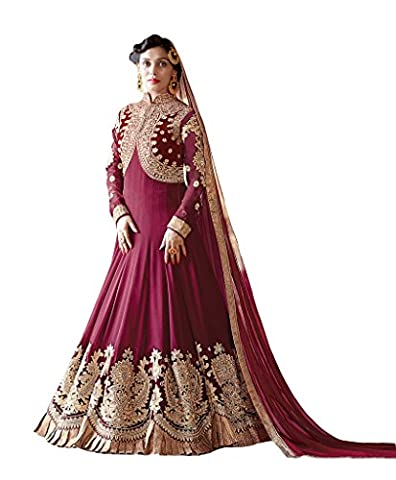 Ethnicwear9 Women's Indian Wedding Dress Free Size Magenta