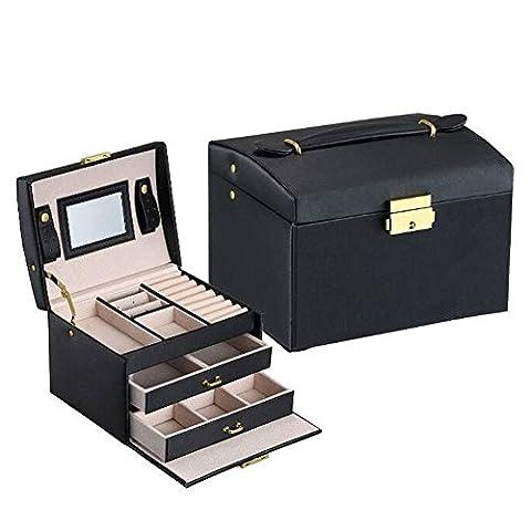 Asvert Boîte de Bijoux en Cuir PU 3 Plateaux 2 Tiroirs Elegant 17.5 * 14 * 13cm, Noir