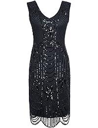 Kayamiya Damen Retro 1920er Perlen Pailletten Blatt Art Deco Gatsby Flapper Kleid