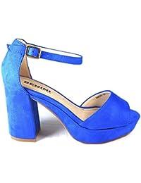 Glamz - plataforma mujer , color azul, talla 35.5