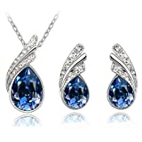 Women's 18K White Gold Stylish Jewellery Set Austrian Crystal Wings Studs Earrings Necklace Color Navy Blue