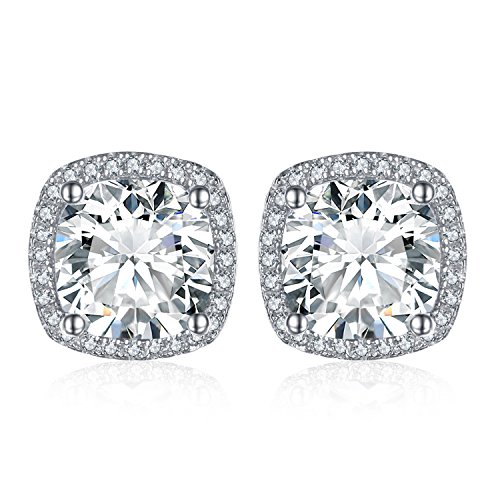 Jewelrypalace Kissen 5ct Zirkonia Halo Ohrstecker 925 Sterling Silber (Halo Zirkonia Bolzen-ohrringe)