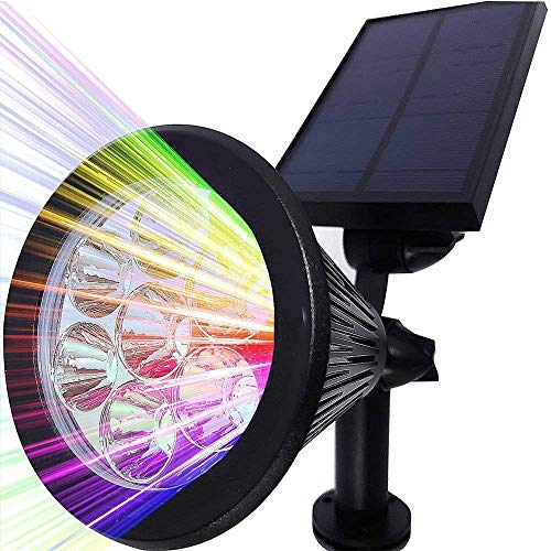 Home-Neat Lampada Solare LED da Esterno con il Pannello Faretti Solari 7 LED 320 Lumen 7 colori Luci di Paesaggio Impermeabile per Prato, Sentiero, Giardino, Cortile