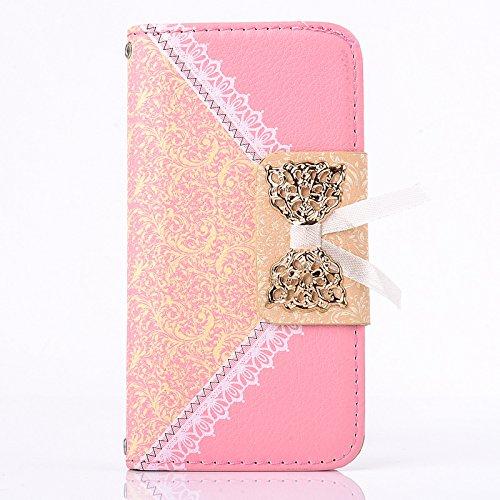 Pour iPhone 5, iPhone 5S Housse PU, ruirs Nice Fashion Girl fente pour carte portefeuille Cover Étui en PU imitation cuir avec support protection d'écran pour iPhone 5iPhone 5S noir rose