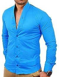Tazzio - Chemise col Mao pour homme Chemise 9005 bleu turquoise - Bleu