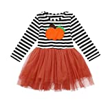 OverDose Damen Kinder Baby Mädchen Kürbis Striped Print Langarm Halloween Kleid + Stirnbänder Cosplay Cute Soft Set Kleid
