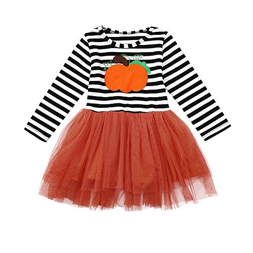 OverDose Damen Kinder Baby Mädchen Kürbis Striped Print Langarm Halloween Kleid + Stirnbänder Cosplay Cute Soft Set ()