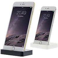 doupi - Dock Dockingstation iPhone 5 5C 5S SE, 6 / 6s Plus, iPhone 7 / 7 Plus, iPhone 8 / 8 Plus, iPhone X ( iPhone 10 ), iPod Lightning Stecker Ladegerät Datenübertragung Halter - Schwarz