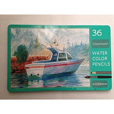 """Aquarelle-Matite con colori ad acqua, ChromaArt: Hemline-Matita solubile In acqua, 36 pezzi, In scatola di metallo """", alta qualità, motivo: matite colorate, struttura vitalità e rotture"""