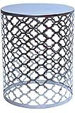 MAADES Design Marokkanische Hocker Beistelltische Sitzhocker Metall Rund - Hoka (Gross, Silber)