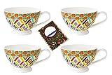 4 latte caffè tazze Set con decorazione Rhomben (multicolore) - Jameson & Tailor 4524 + campione tè