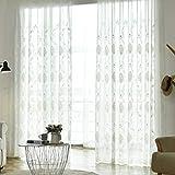 SS SHOVAN 2er Gardinen Vorhänge Sticken Muster Schals mit Ösen Transparent Vorhang aus Voile (BxH 140x245cm)