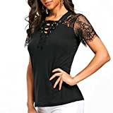 Kanpola Ladies Summer Tops Womens Solid Color Lace Stitching Panel Criss Cross V Neck Short Sleeve T-shirt Top Blouse