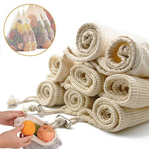 [Senza plastica]Sacchetti riutilizzabili , Sacchetti di Frutta e Verdura, Sacchetti di Verdure in Cotone, Cotone Organico Lavabile per la Spesa, Conservare Frutta, Verdura e Giocattoli - 8 Pezzi
