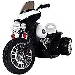 Homcom Moto Electrica Tipo Coche o Triciclo para Niños de 3 años, 6V, Metal + PP, Negro o Blanco 80x43x54,5cm