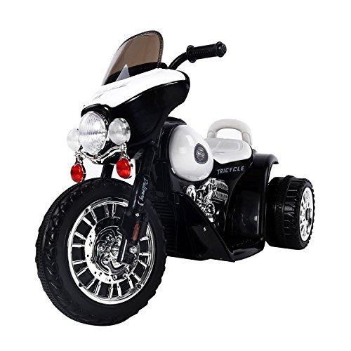 elektrisches kinderfahrzeug Homcom® Elektro Kindermotorrad Elektromotorrad Kinderelektroauto Kinderfahrzeug Dreirad, 6V, Metall+PP, Schwarz+Weiß, 80x43x54,5cm