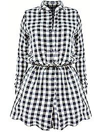 Damen Kariertes Hemdkleid Langarmshirt Blusenkleid - Highdas Karierte Bluse  Lang Hemden Blusen Plaid Shirts Hemd Minikleid 852df52762