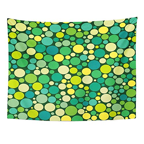 AOCCK Wandteppiche Wall Hanging Black Large with Circles Dots of Different Sizes in Chaotic Manner Green Small 60