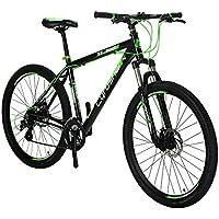"""Vélo de Montagne 27.5 """" x 19 """" Extrbici VTT Cyrusher Vélo de Montagne avec Suspension de la Fourche et Frein Mécanique, Cadre en Alliage d'Aluminium, Vert Noir (UK STOCK)"""