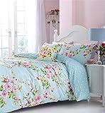 rosa blau Rosen Blumen Doppelbett Bettwäsche Plissee-Vorhänge Kissen Set