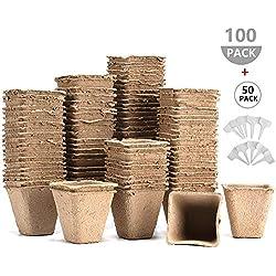 Semilleros Biodegradables, 100pcs 8cm -100% Biodegradable, Orgánico y Ecológico