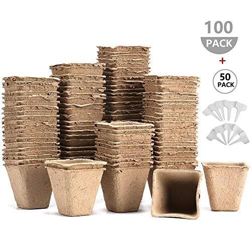AIXMEET 8 cm Anzuchttöpfe für Pflanzen, 100 Stück Biologisch Abbaubar Pflanztöpfe Blumentöpfe für Pflanzen, 50 Stück Plastik Pflanzenetiketten weiß