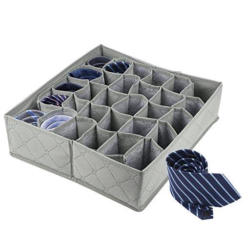 LUVSPOT 30 Zelle Faltbare Socken Aufbewahrungsbox,Krawatten Drawer Organiser Storage Box Unterwäsche Wardrobe Organizer,Bambuskohle Deodorant Nicht Gewebter (Grau) Woven Storage-boxen
