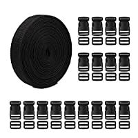 Tugaizi 20 Set Black Plastic Buckles Kit Include 20 Pack Adjustable Quick Release Buckles Flat Shape Buckles and Tri-Glide Slides with 11 Yards Nylon Webbing Straps Band Width 1 Inch