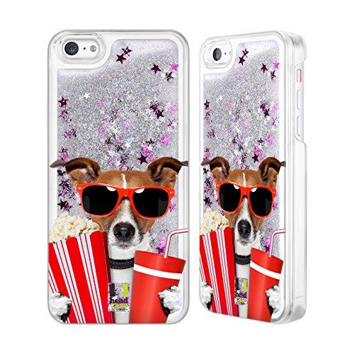 Head Case Designs Hund Im Kino Komische Tiere Silber Handyhülle mit flussigem Glitter für Apple iPhone - 5c Case-kino Iphone