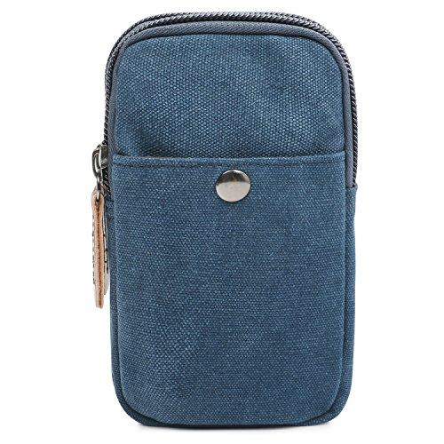 Monederos Vintage con Bolsillos con Cremallera para Hombres Mujeres (Azul)