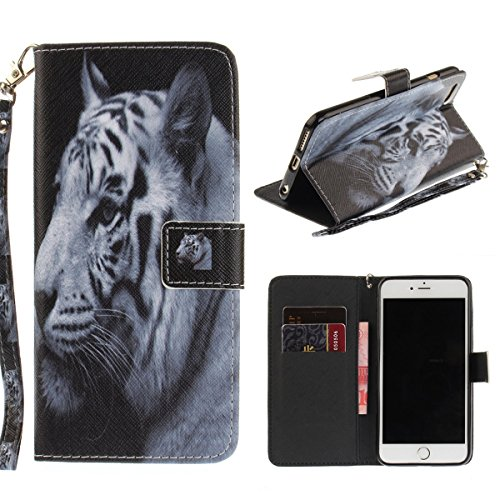 """MOONCASE iPhone 6/iPhone 6s Coque, [Colorful Painting] Anti-choc TPU Protection Housse Lanyard PU Cuir Portefeuille Case pour iPhone 6/iPhone 6s 4.7"""" Magnolia W-Tiger"""