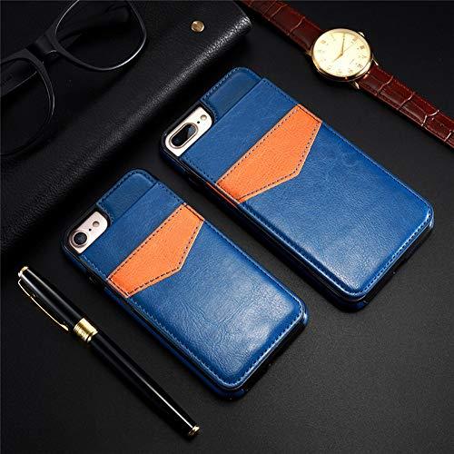 Pnizun - Vertical Flip Kartenhalter-Leder-Kasten für iPhone 6 6S X XR XS Plus Retro Abdeckungs-Fall für iPhone 7 8 Plus-Mappen-Beutel [Blau Für iPhone X] - Blau Iphone Otterbox-fälle 6