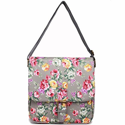 En Toile Cirée Miss Lulu Floral Mat texturé carré sac bandoulière sacoche Gris