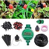 Proster 25M/82ft 4mm DIY Sistema Irrigazione Include Timer Programmatore Kit per Irrigazione Automatica e Kit Micro Gocciolatori Risparmia Acqua per Giardino Aiuola Patio Serra