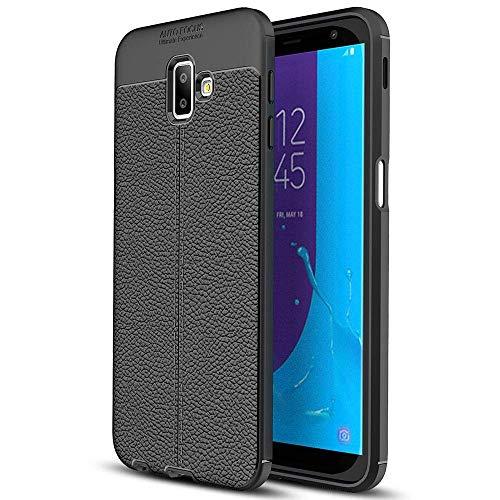FERZA Home Galaxy J6 Prime Hülle, WindCase Litchi Skin Rutschfeste, robuste TPU-Rüstung Ultimate Protection Case für Samsung Galaxy J6 Prime / J6 Plus 2018 schwarz Rüstung Series Case