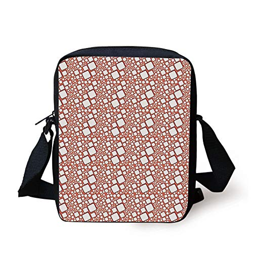 Abstract,Ornamental Squares with Oval Corners in Various Shapes Geometric Pattern,Dark Salmon White Print Kids Crossbody Messenger Bag Purse
