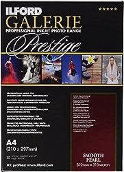 Ilford 2001746 Prestige Smooth Pearl Paper, 310g, 25 Blatt, A4, 21 X 29,7 Cm
