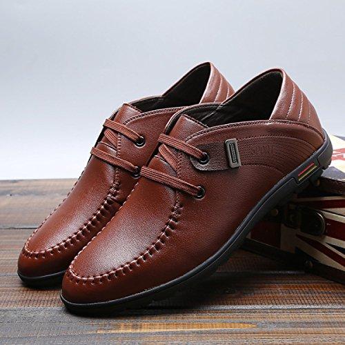 GRRONG Chaussures En Cuir Pour Homme En Cuir Véritable Loisir Respirants brown