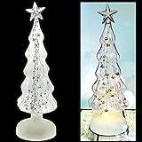 LED Weihnachtsbaum Glasbaum Perlen Tannenbaum Glas Silber Deko