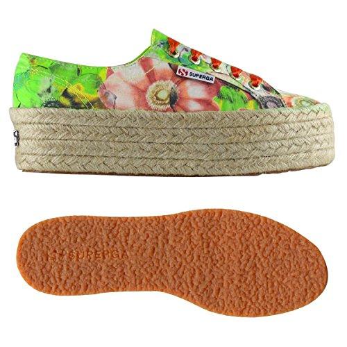 Superga Schuhe 2790-FABRICFANPLROPEW für Frau, Flachform Schuhe, Blumenmuster Multicolore