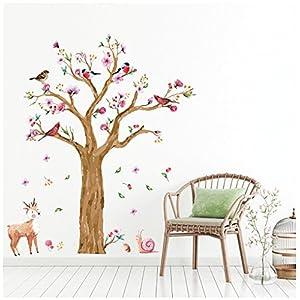 WandSticker4U®- Wandtattoo Kinderzimmer GROSSER Aquarell BAUM braun I Wandbilder: 170×145 cm I Wandaufkleber Babyzimmer…