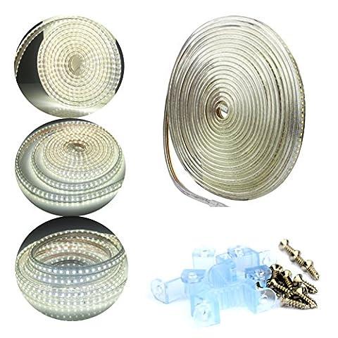 ALED LIGHT 10M 220V IP67 SMD 2835 Ruban LED Bande Strip Lumineuses Éclairage Étanche 120 leds/m 1200 LEDs au Total Flexible Strip Light Tube lumineux d'extérieur - Utiliser Directement pas Besoin de L'adapteur (Blanc)