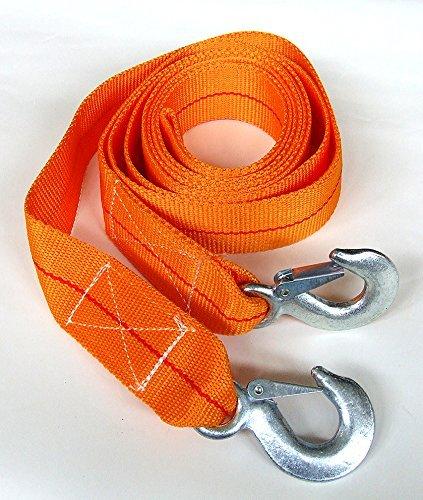 Abschleppseil 5000 kg 5t 3,5m + 2 Sicherheitshaken Abeschlepp Seil Schleppseil Abschlepphilfe Zugseil Bergegurt Stahlhaken Pannenhilfe