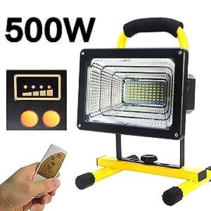 FNHGNG Foco LED Recargable Portátil 500W, Lámpara Proyector Batería LED, con Control Remoto, Brillo de 4 Modos, Batería de Litio Incorporada 26800 mAh, Luz Protector Portátil Mano Luz de Seguridad