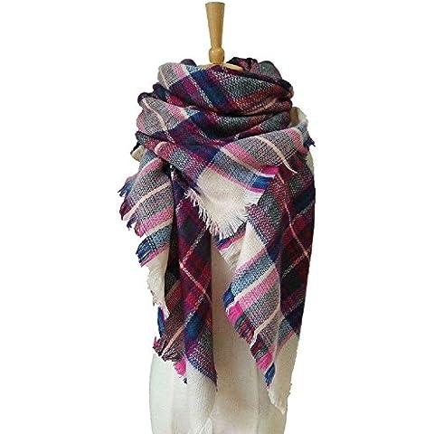 Manta XJoel invierno clásico de la tela escocesa de la bufanda del mantón de Pashmina envuelve