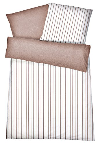 Carpe Sonno Super Softe Interlock Jersey Wende-Bettwäsche Streifen Melange - Bettbezug aus gekämmter Baumwolle - Bügelfreie Bettbezüge - Bettzeug 135 x 200 cm - Braun