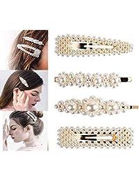 Pinzas para el pelo de perlas para mujeres y niñas, 4 unidades grandes de lazos/clips/corbatas para cumpleaños, día de San Valentín, regalos de Bling horquillas para el pelo, accesorios de estilo