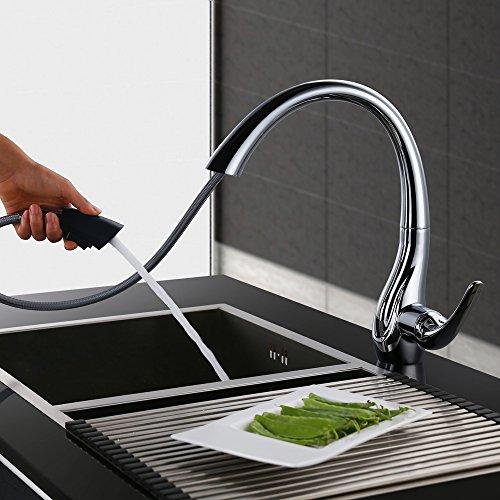 Homelody 360° drehbar Wasserhahn mit Ausziehbar Brause Armatur Küche Mischbatterie KüchenarmaturSpültischarmatur Spültischbatterie Küchenmischer -