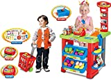 Vinsani Kids Light and Sound Supermarket Playset Food Stall Role Play Kitchen Game Set Superstore