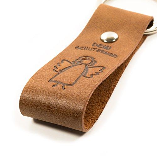 Design Schlüsselanhänger Schutzengel - Echtleder - ein treuer Begleiter für unterwegs - echtes Leder - Design-Schlüsselring - Maskottchen in schicker Geschenkbox - ein Original von Luminick®
